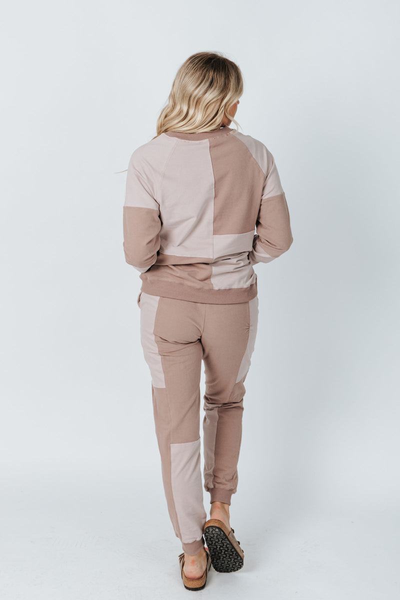 The Smith Colorblock Jogger in Mauve, studio shoot; back view