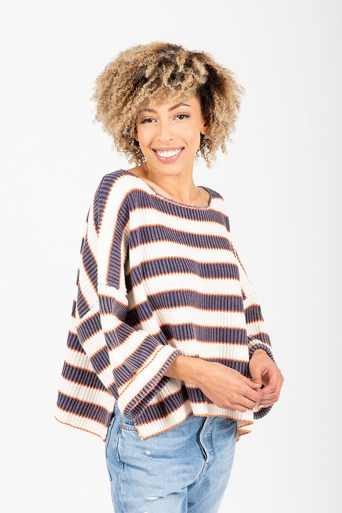 The Burwell Striped Knit Sweater in Navy