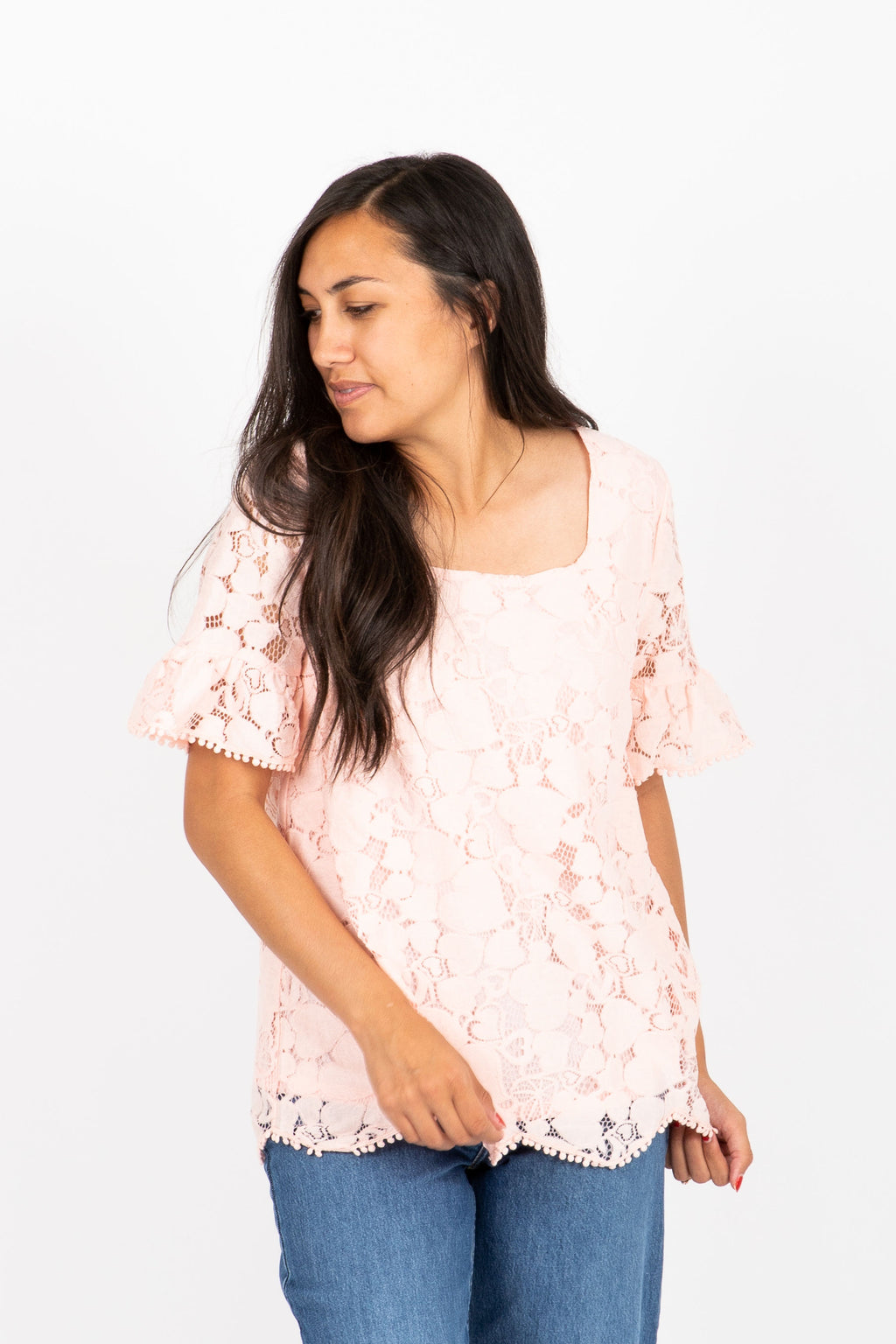 The Bistro Lace Blouse in Blush