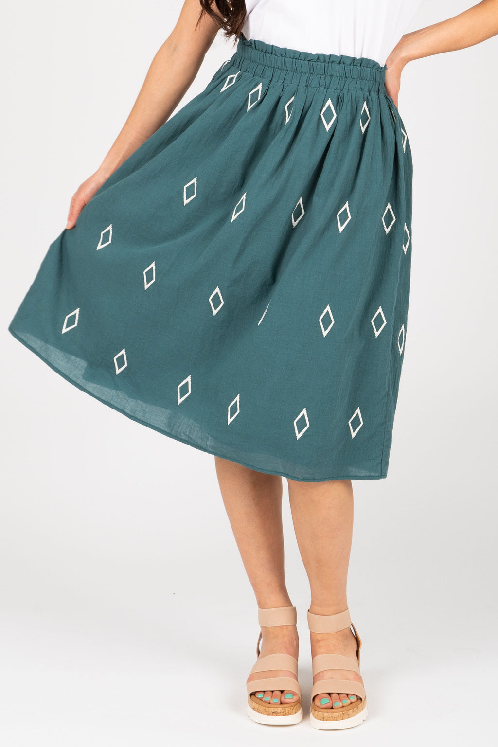 The Amia Diamond Embroidered Skirt in Teal