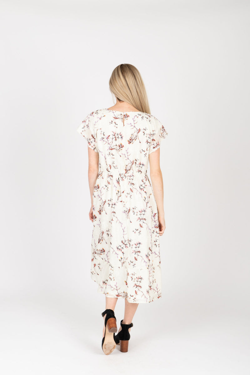Piper & Scoot: The Mildred Floral Empire Dress in Cream, studio shoot; back view