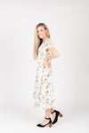 Piper & Scoot: The Mildred Floral Empire Dress in Cream, studio shoot; side view