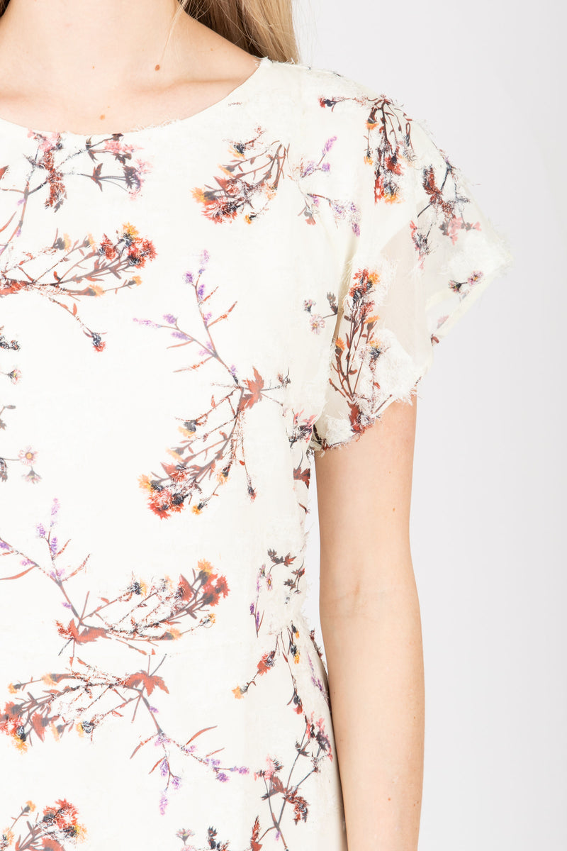 Piper & Scoot: The Mildred Floral Empire Dress in Cream, studio shoot; closer up front view