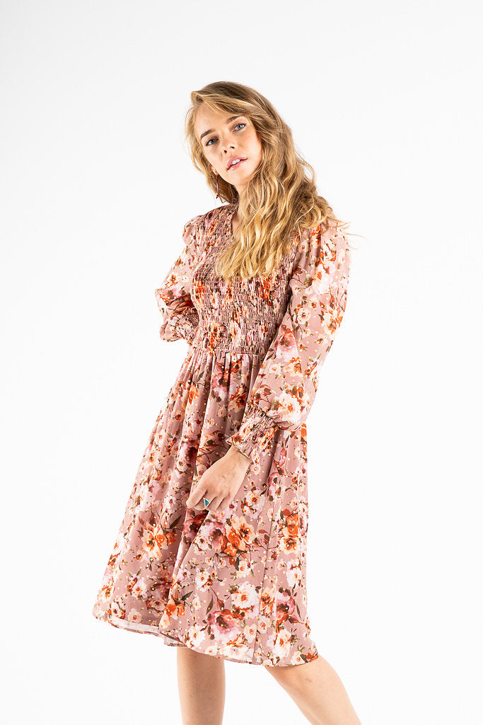 The Quinton Floral Smocked Dress in Mauve