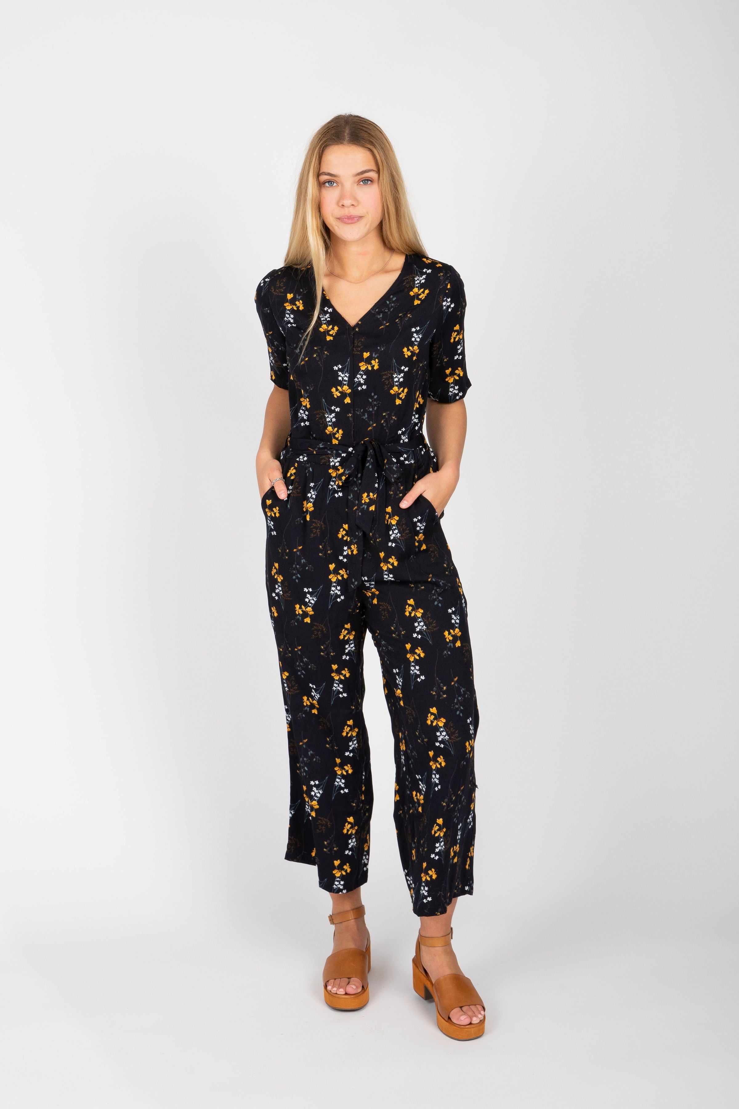 Piper & Scoot: The Elliot Floral Tie Jumpsuit in Black