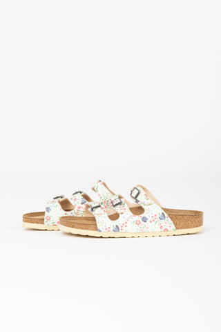 Birkenstock: Florida Softbed Birko-Flor in Meadow Flowers Khaki Regular Fit