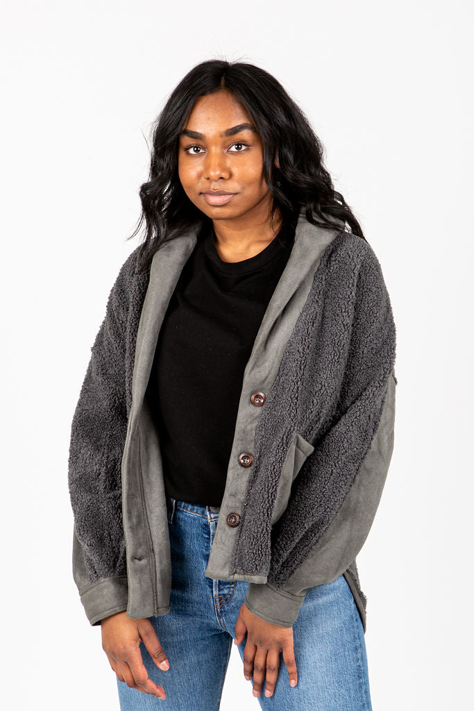 The Rence Sherpa Jacket in Charcoal, studio shoot; front view