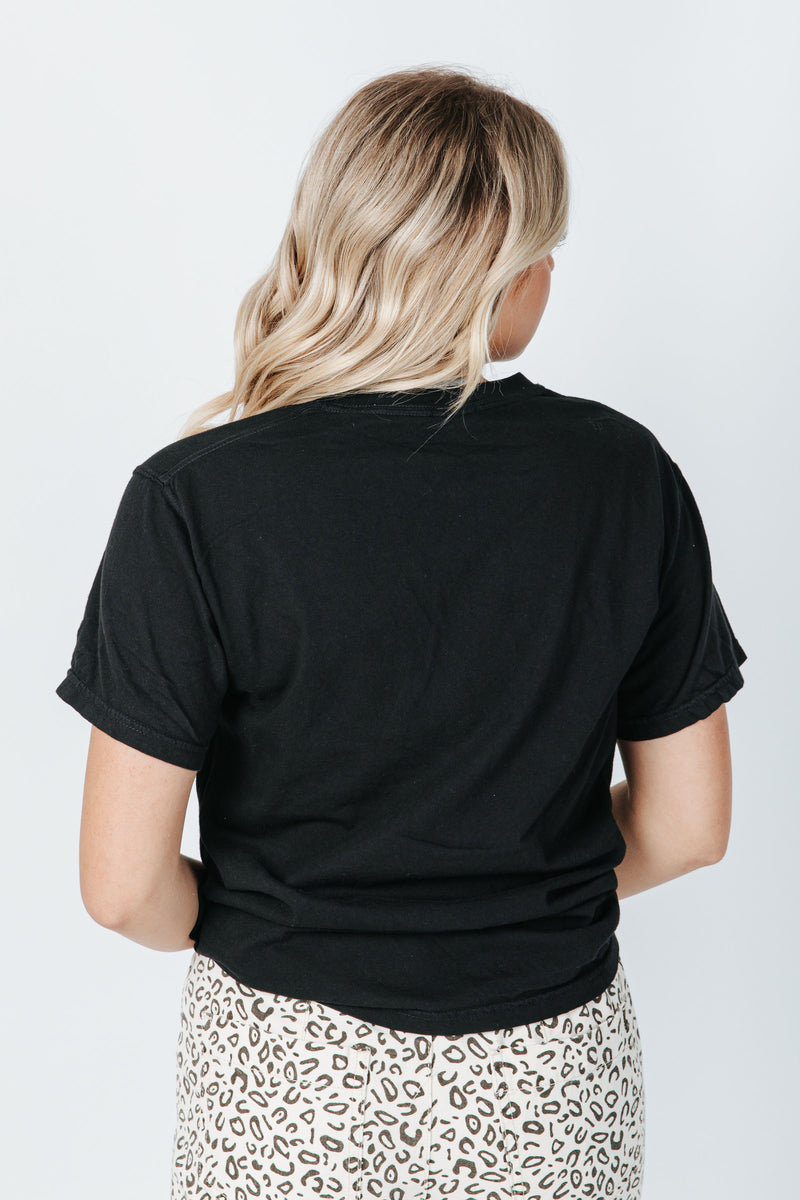 The Lake Tahoe Graphic Tee in Black, studio shoot; back view