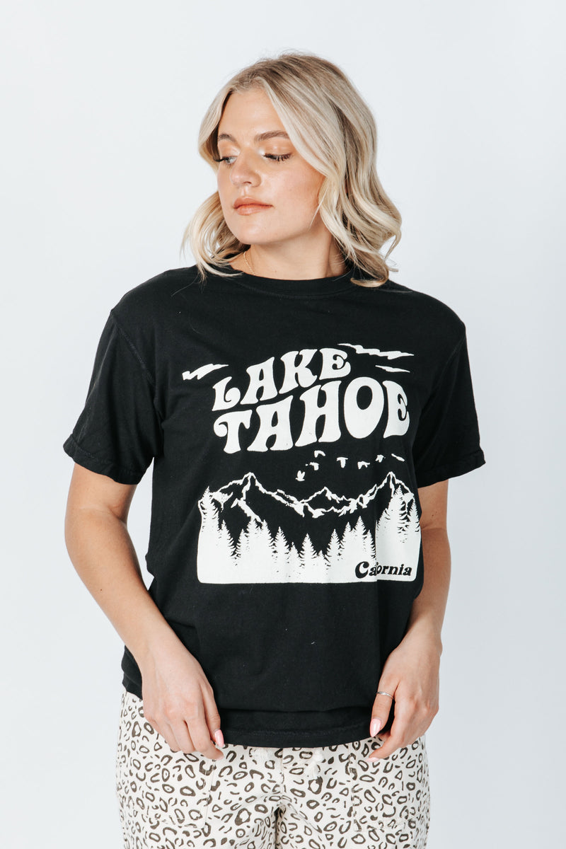 The Lake Tahoe Graphic Tee in Black, studio shoot; front view