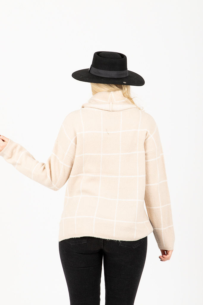 The Bremer Plaid Turtleneck Sweater in Taupe