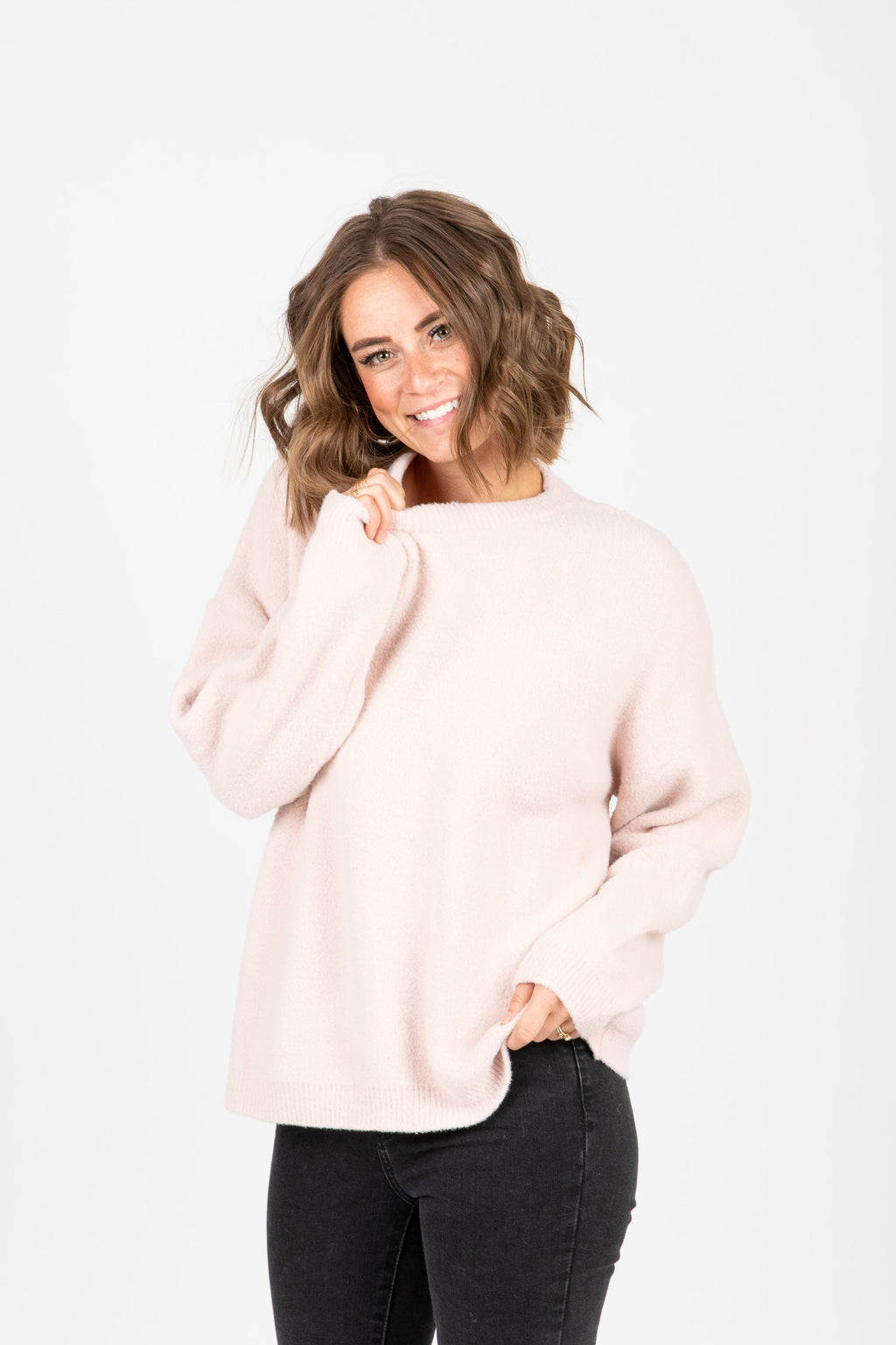 The Hawthorne Sweater in Soft Pink, studio shoot; front view