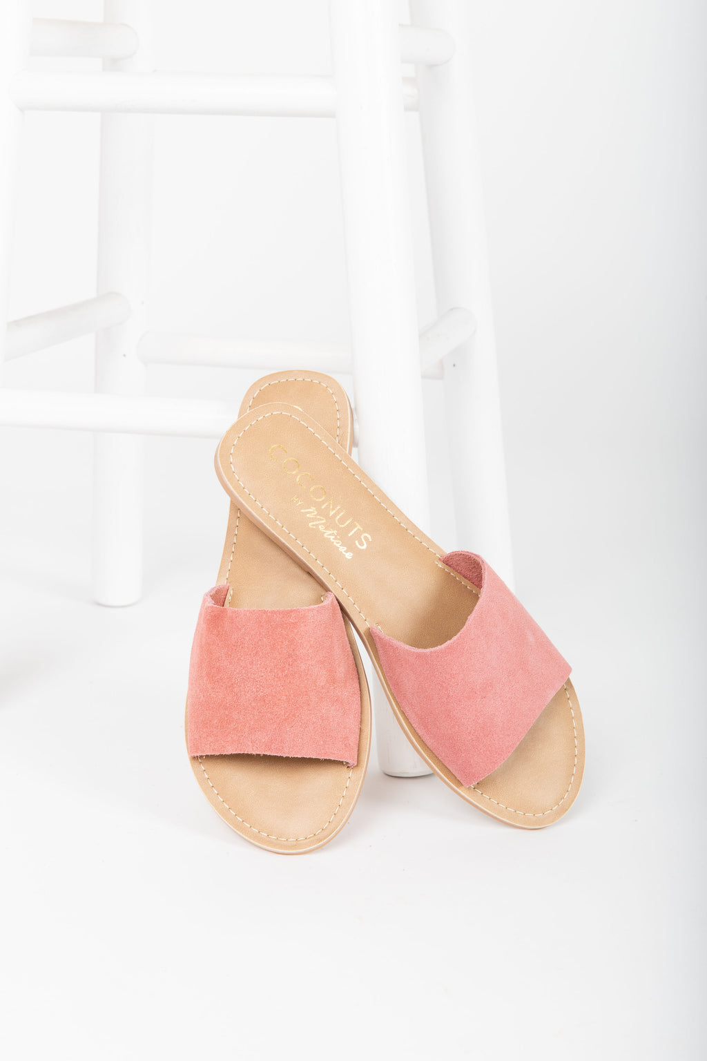 Coconuts by Matisse: Cabana Suede Slide Sandal in Blush Pink