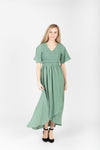 The Fancy Flutter Sleeve Dress in Sage, studio shoot; front view