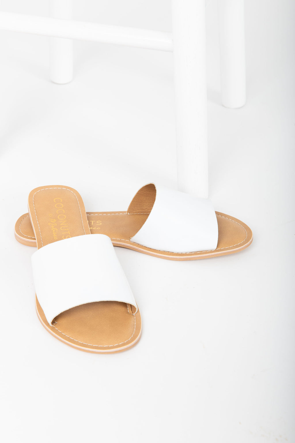 Coconuts by Matisse: Cabana Leather Slide Sandal in White