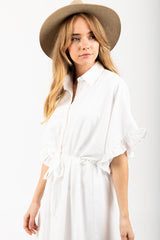 The Dwight Button Collared Dress in White