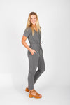 Piper & Scoot: The Debra Wrap Knit Jumpsuit in Heather Grey
