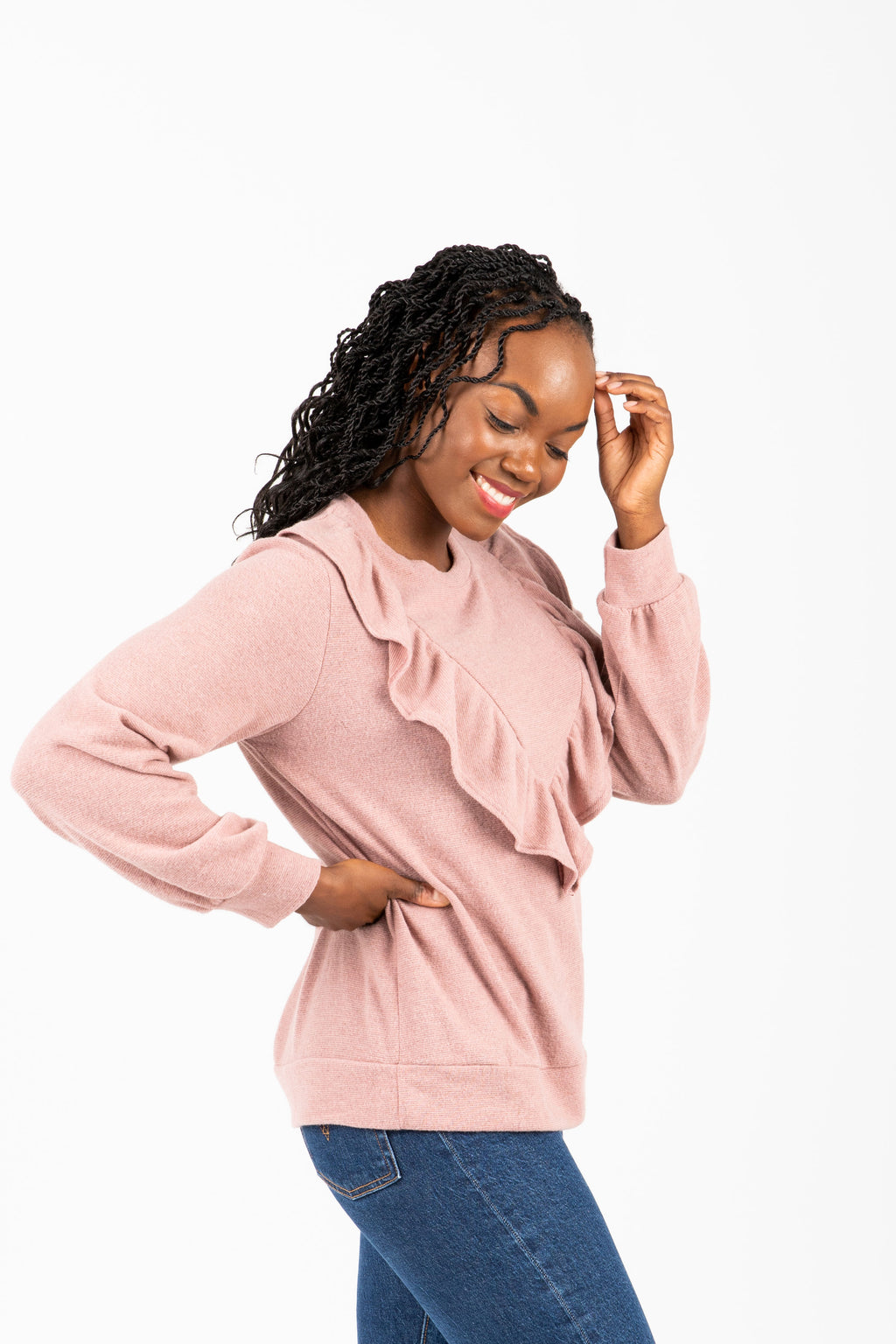 The Rankin Ruffle Casual Knit in Mauve, studio shoot; side view