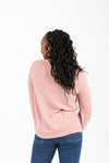 The Rankin Ruffle Casual Knit in Mauve, studio shoot; back view