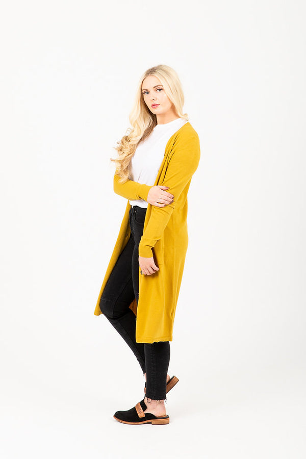 The Mason Duster Cardigan in Mustard