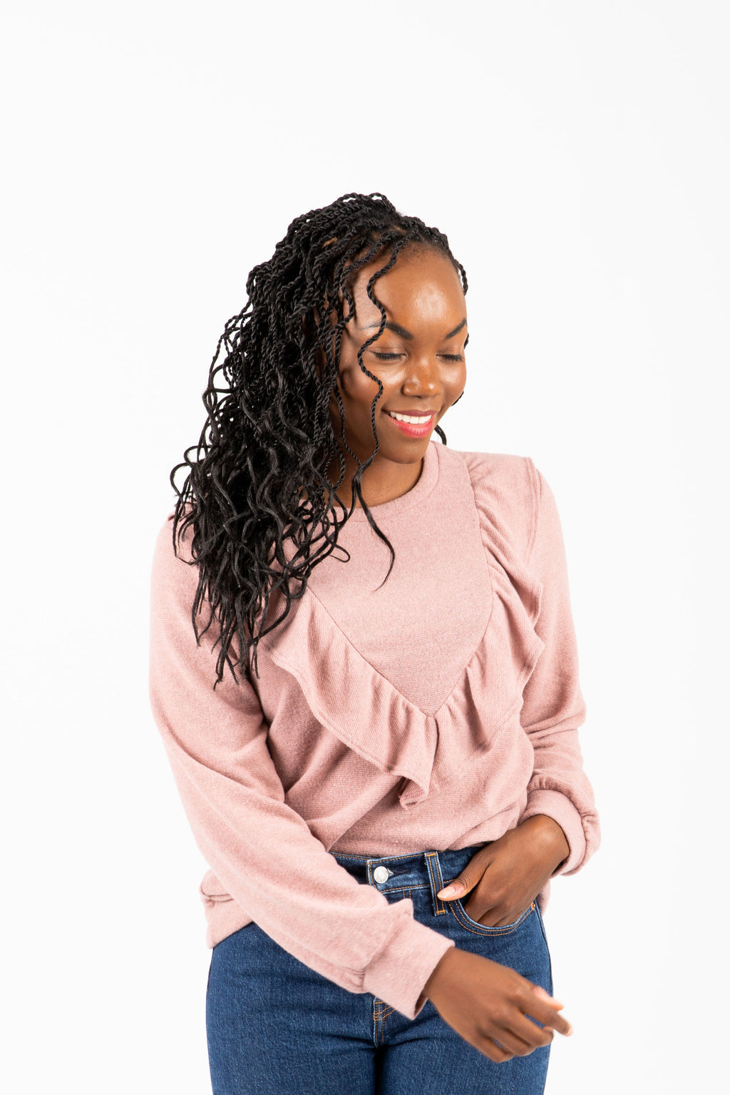 The Rankin Ruffle Casual Knit in Mauve, studio shoot; front view