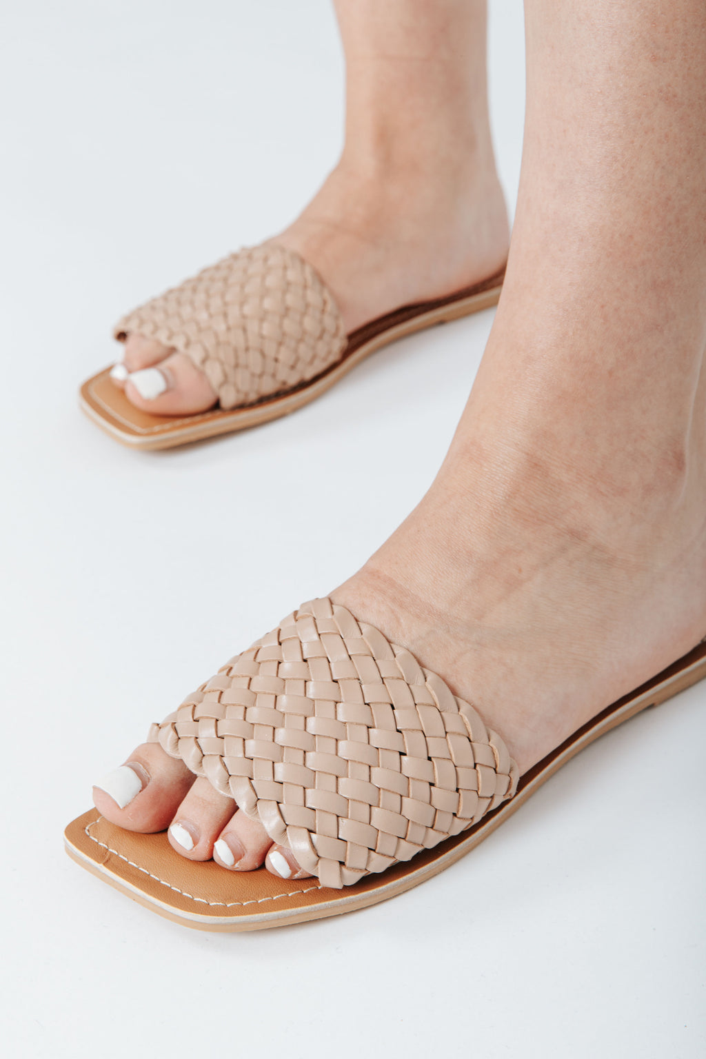The Valley Slide in Nude Leather, studio shoot; side view