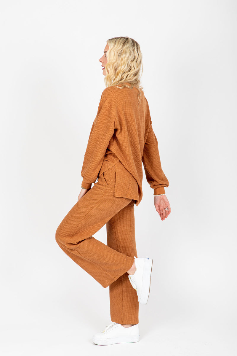 , stThe Anderson Waffle Knit Set in Rust, studio shoot; side view
