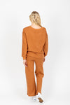 , stThe Anderson Waffle Knit Set in Rust, studio shoot; back view