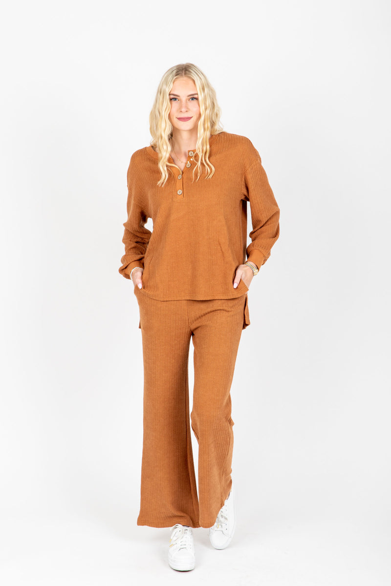 , stThe Anderson Waffle Knit Set in Rust, studio shoot; front view