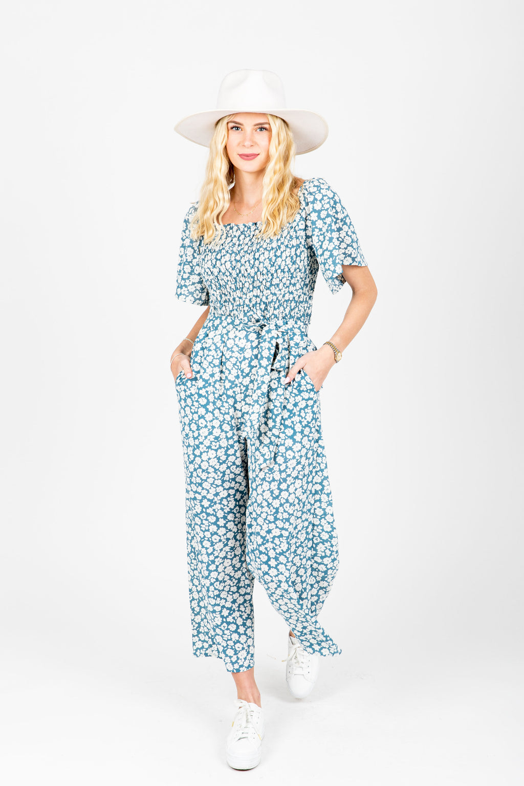 m styThe Alicia Square Neck Jumpsuit in Blue Floral, studio shoot; front view