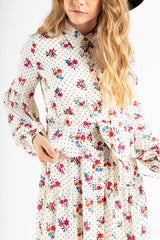 The Marshall Floral Button Down Dress in Ivory