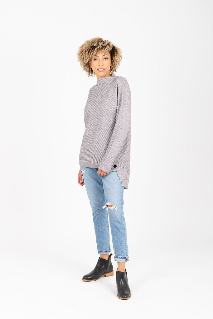 The Osborn Button Side Sweater in Heather Grey