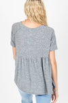 The Miller Peplum Top in Heather Grey, studio shoot; back view