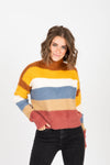 The Maryville Striped Mock Neck Sweater in Multi, studio shoot; front view