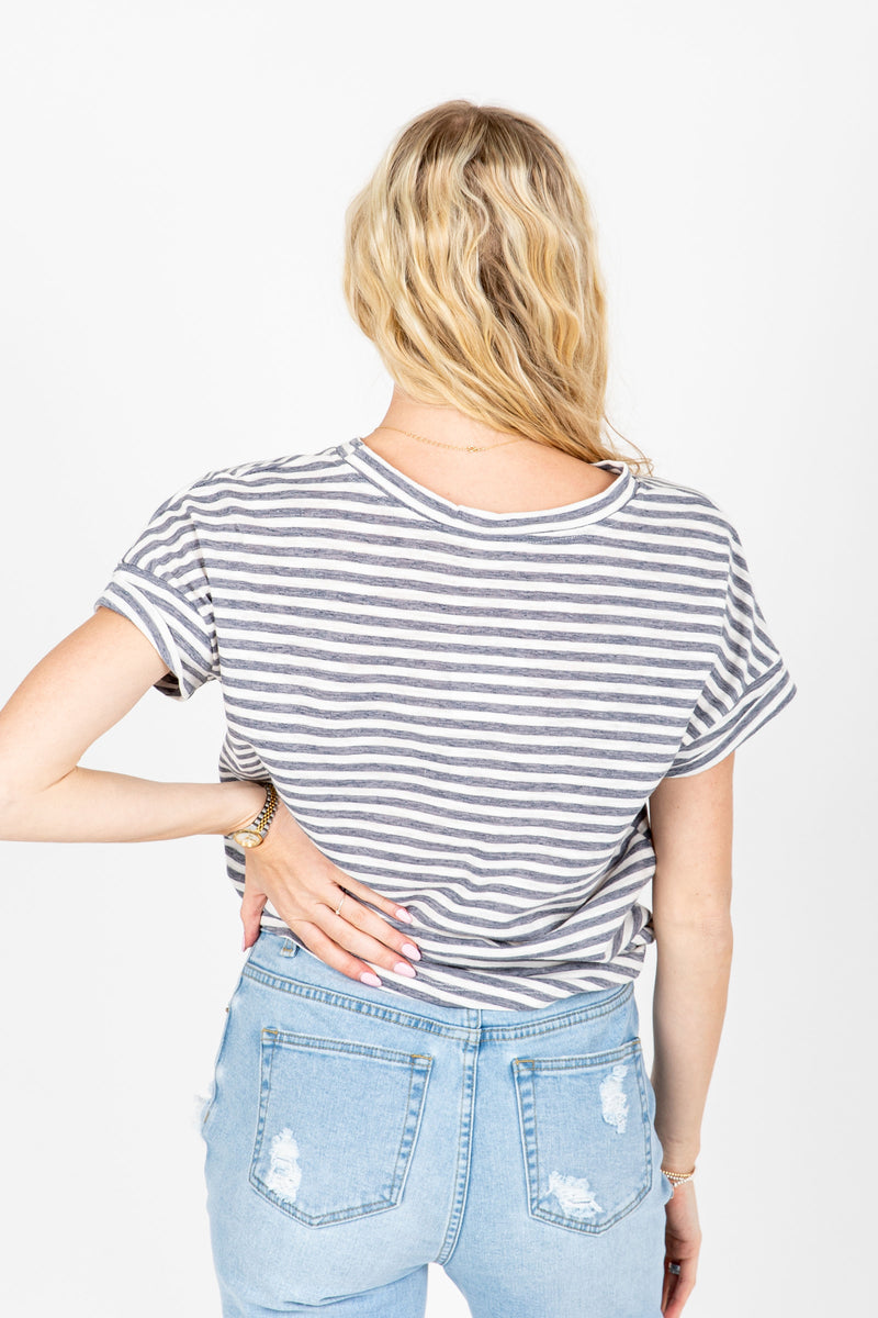 The Serena Striped Tee in Dusty Blue, studio shoot; back view