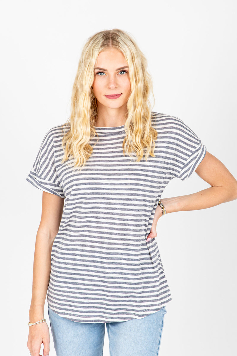 The Serena Striped Tee in Dusty Blue, studio shoot; front view