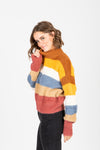 The Maryville Striped Mock Neck Sweater in Multi, studio shoot; side view