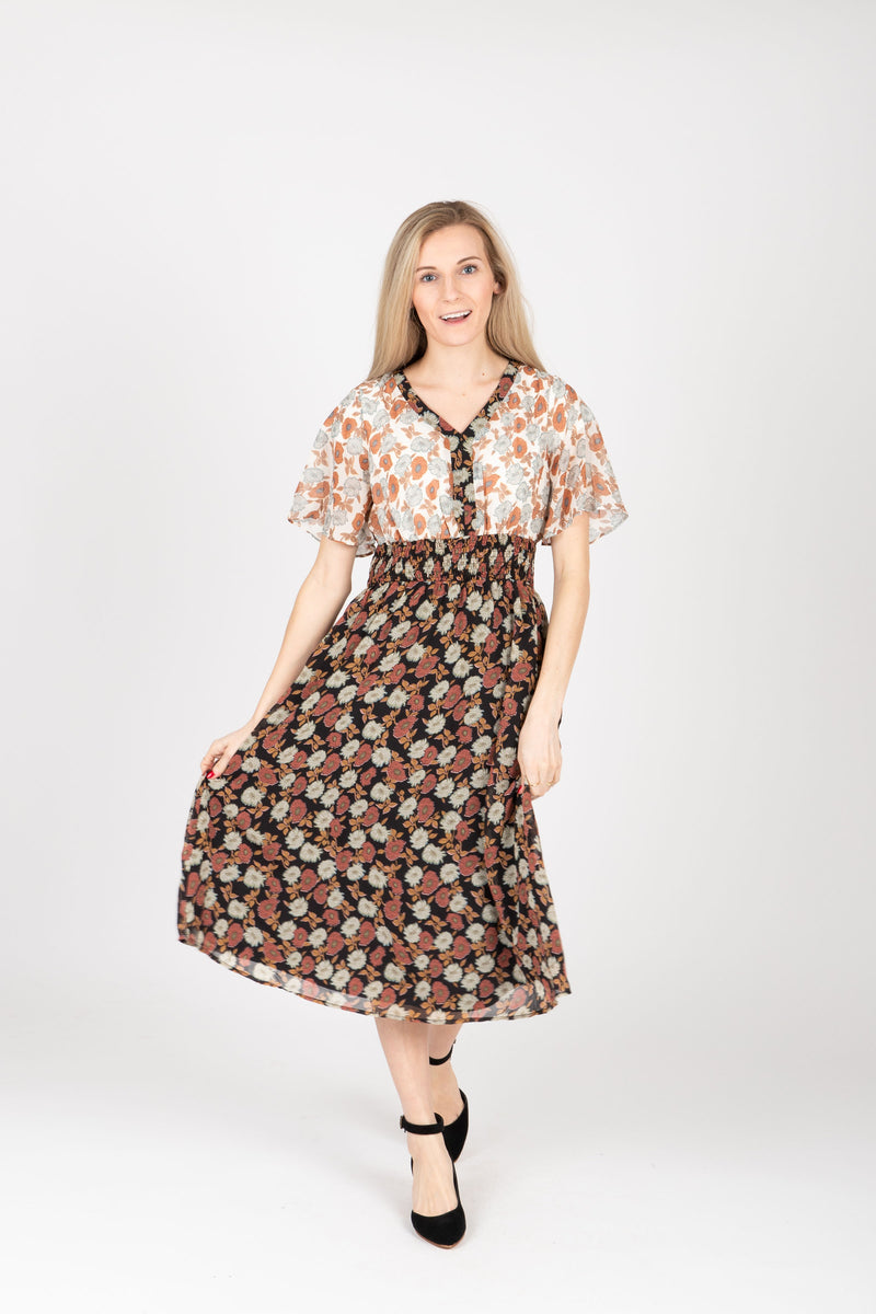 Piper & Scoot: The Bay Floral Contrast Dress in Black, studio shoot; front view