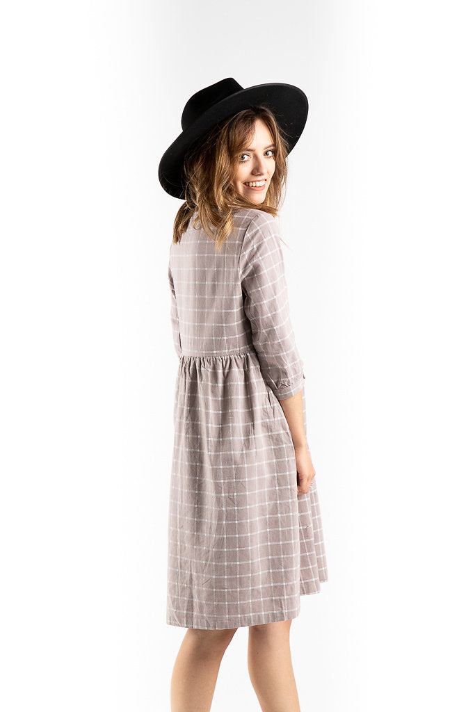 The Hinton Grid Dress in Lavender