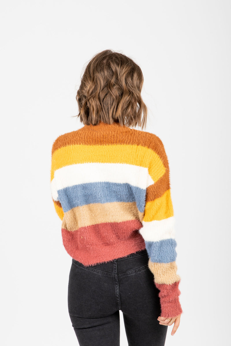 The Maryville Striped Mock Neck Sweater in Multi, studio shoot; back view