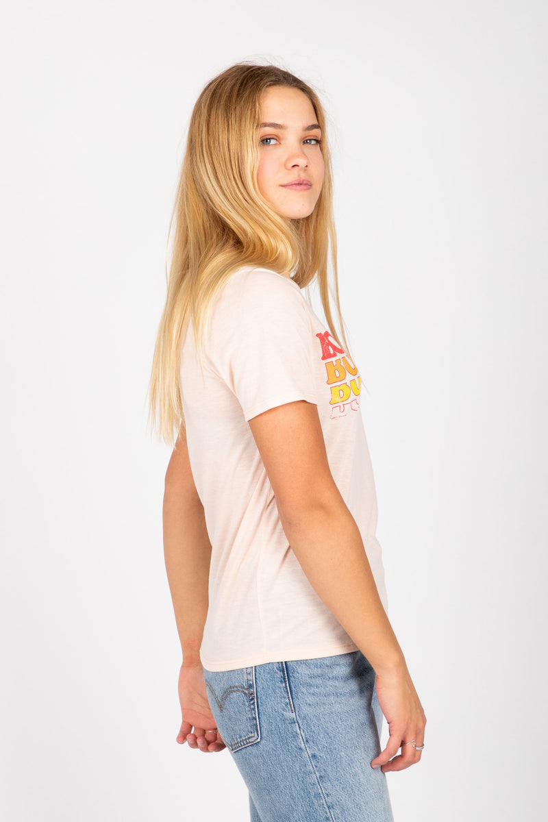 The Bonjour Graphic Tee in Peach