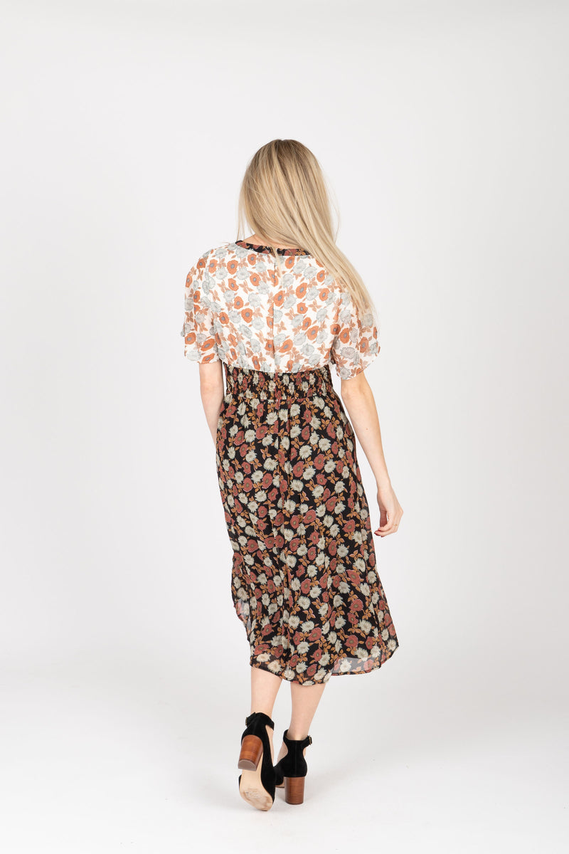 Piper & Scoot: The Bay Floral Contrast Dress in Black, studio shoot; back view