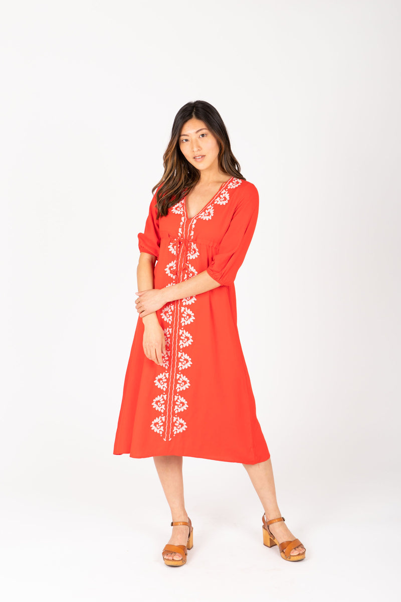 The Vallarta Embroidered Midi Dress in Poppy, studio shoot; front view
