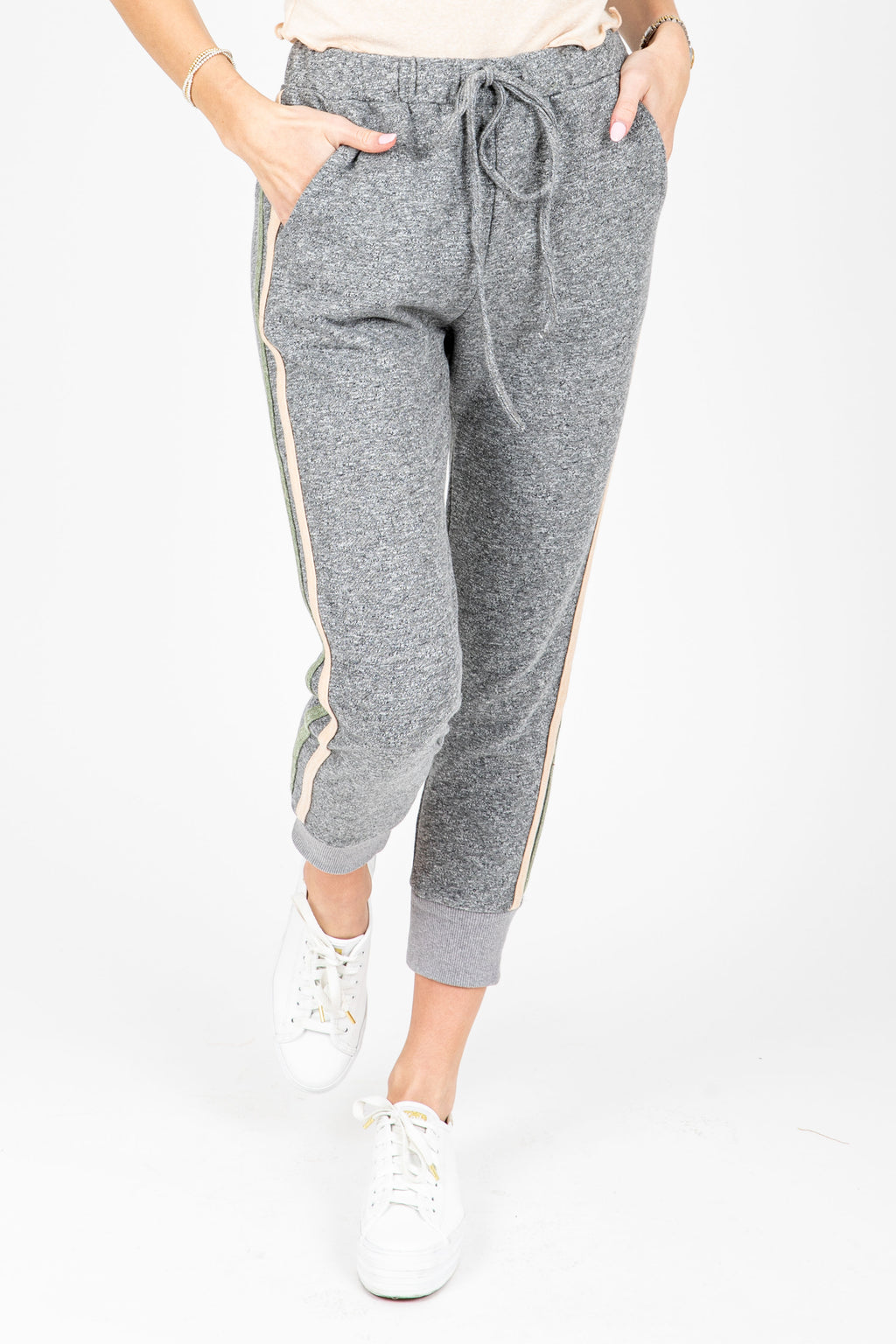 The Cole Striped Jogger in Grey, studio shoot; front view