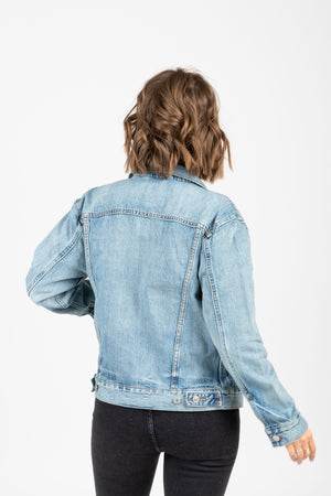Levi's: Ex-Boyfriend Trucker Jacket in Dream of Life, studio shoot; back view