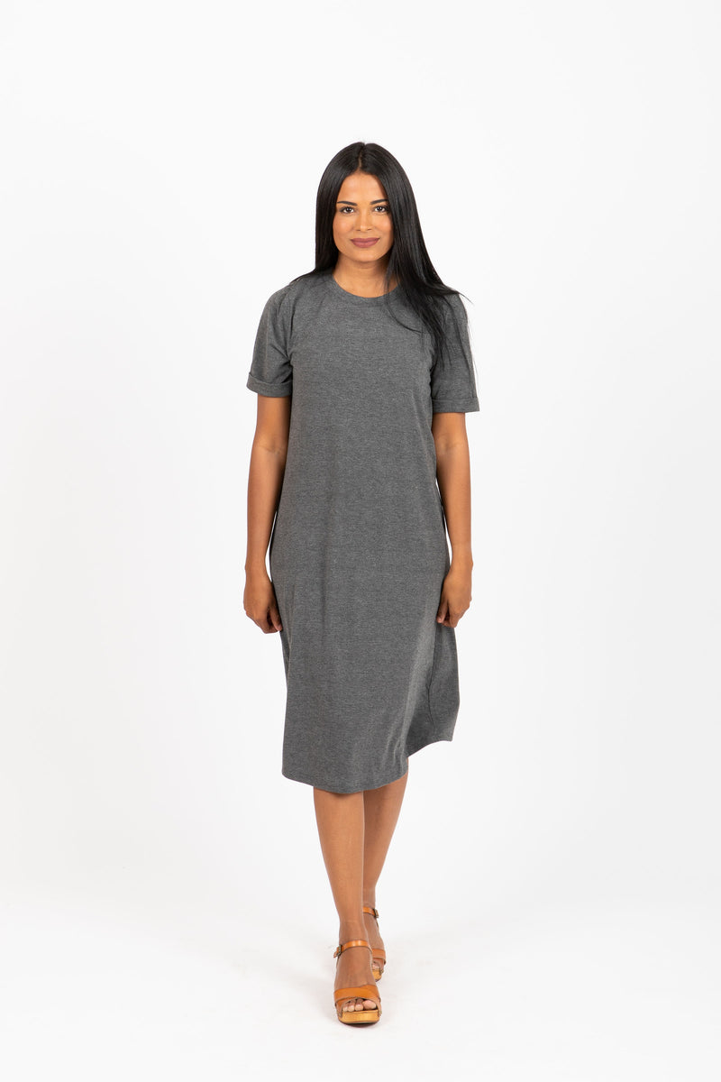 Piper & Scoot: The Prism Basic Detail Dress in Charcoal
