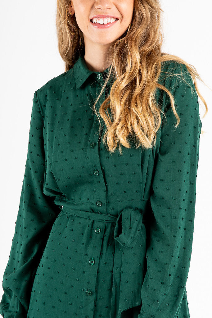 The Ethel Swiss Button Up Dress in Emerald