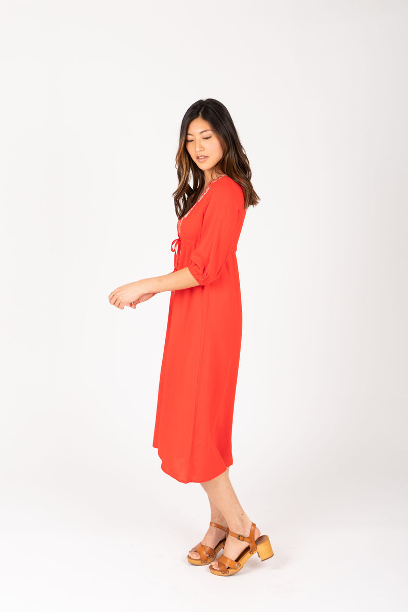 The Vallarta Embroidered Midi Dress in Poppy, studio shoot; side view