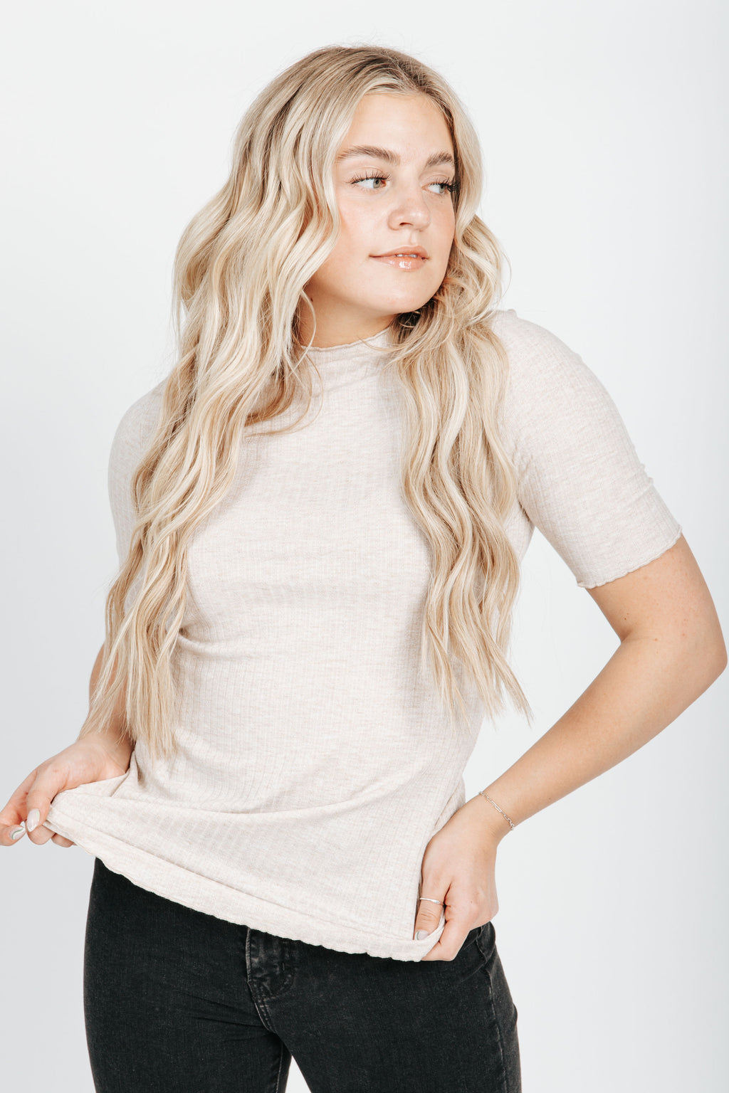 The Hanks Mock Neck Ribbed Top in Oatmeal