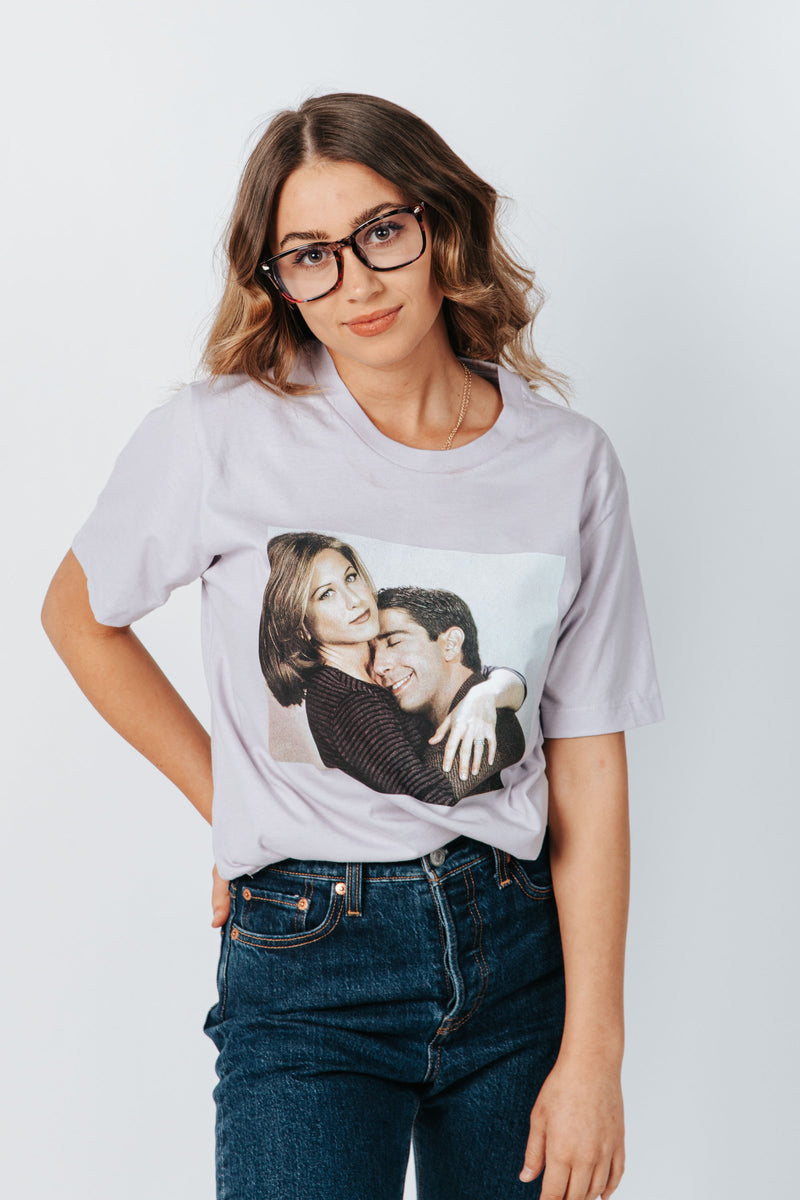 ,Friday + Saturday: The One Where Ross + Rachel Hug Tee, studio shoot; front view