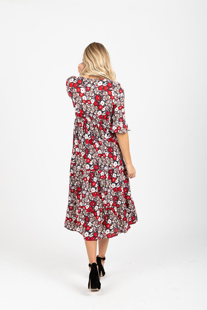 The Logan Floral Flare Dress in Poppy